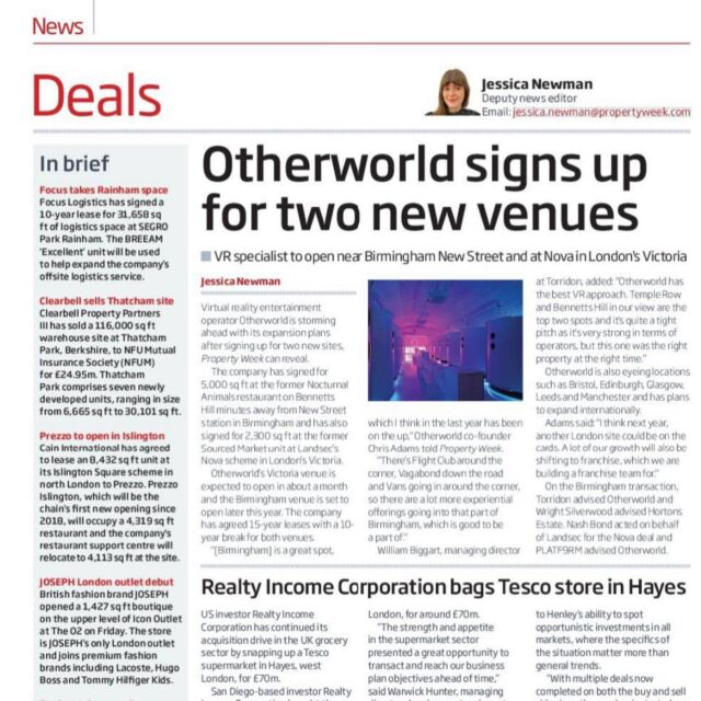 🚨🔔News is out @otherworld is coming to Birmingham 🔔🚨  @torridon.london is privileged to work with some of the smartest guys in the room.   @otherworld Chris and Ed are those guys.  It's always darkest before dawn and those that have grasped the nettle in the last 12 months, will be the ones that will reap the benifits as everything returns to normality.   @torridon.london are delighted to have secured their first regional site for them and we are retained on the rollout.   Big shout out to Simon Smith at Wrightsilverwood in making this happen. It will be a fantastic addition to Bennetts Hill in Birmingham.  Where to next 👀 get in touch we are looking.   #BIRMINGHAM #RETAIL #FANDB #RESTAURANT #THEFUTUREISHERE #LEISURE #COMPETITIVESOCIALISING #ROLLINGTHEDICE #DEVELOPMENT #AGENCY #RESTAURANTAGENT #LEISUREAGENT #RETAILAGENT #POSITIVITY #TORRIDON #CHOOSELIFE #CHOOSENOTTOCHOOSEANYTHINGOTHERTHANLIFE #CHOOSETORRIDON